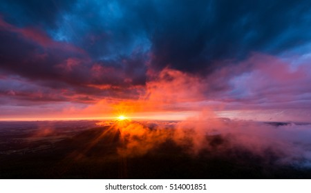 Sunset at the Jested mountain, Czech republic