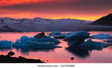 Sunset at Jokulsarlon glacier lagoon