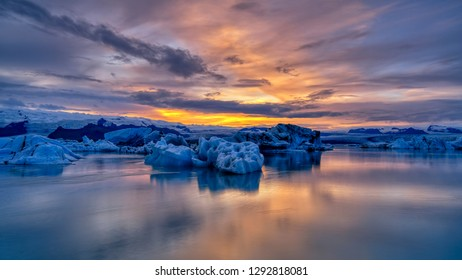 Sunset at Jokusarlon Glacial Lagoon in Southeast Iceland.