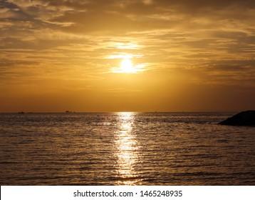 Sunset at Jomtien Beach in Pattaya.