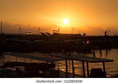 sunset in jubail city in north lebanon