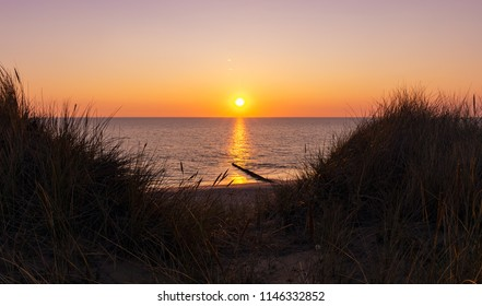 Sunset at Kampen Beach on the island Sylt, Germany