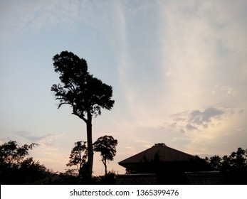 Sunset in Kao Yai national park,In the evening is the most pleasant time.In the picture there is also a house , Nakhon Ratchasima, Thailand.