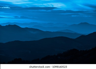 Sunset from Karakate over the mountains of Gipuzkoa and Bizkaia in the Basque Country, blue style