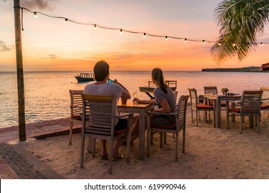 Sunset at Kartakter by the ocean Views around the Caribbean Island of Curacao