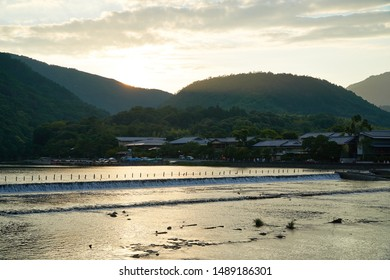 Sunset at Katsura River in Arashiyama,Kyoto