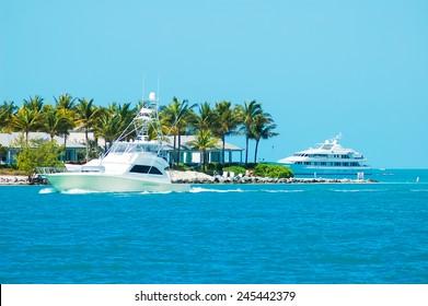 Sunset Key, Florida - February 28, 2009:  The yachting and island life around beautiful Sunset Key and Key West Florida