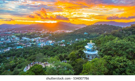sunset at Khao Rang viewpoint on hill top in the middle of Phuket town on hill top can see the great big Buddha too Khao Rang viewpoint on hill top in the middle of Phuket town