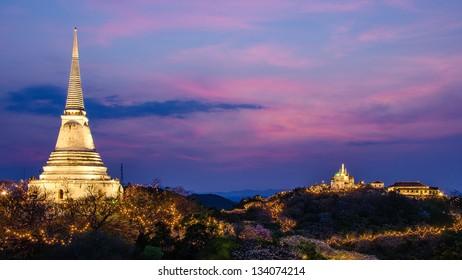 Sunset at Khao Wang Palace, an old Thai king palace in Phetchaburi province, Thailand