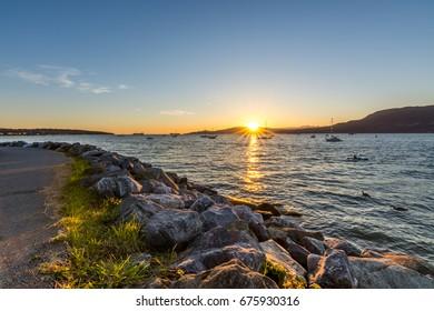 Sunset from Kitsilano promenade, Vancouver Canada
