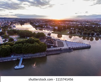 Sunset in Koblenz City Germany historic monument German Corner where the rivers rhine and mosele flow together