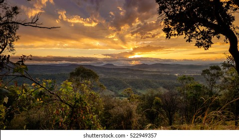 Sunset in Kondalilla national parc. Australian viewpoint landscape
