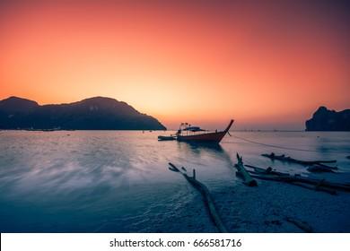 Sunset at Krabi beach, Thailand