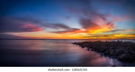 Sunset at Kuala Baram Beach, Miri.