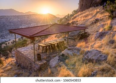 Sunset at Kurdistan Iraq pavilion in nature, Erbil, Duhok and Suleimaniya landscape scenic views. Beautiful mountains of Kurdistan in Iraq.