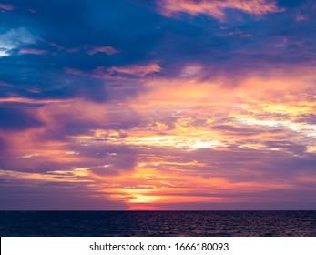 Sunset at Kuta beach in Bali Indonesia