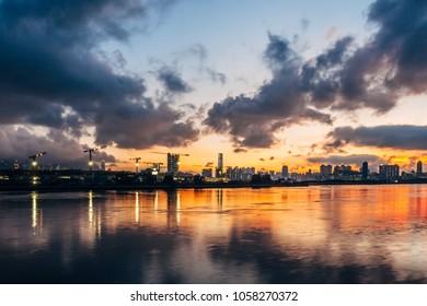 Sunset at Kwun Tong, Hong Kong.