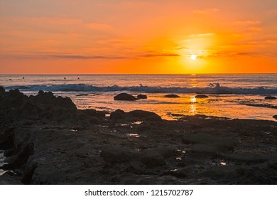 sunset at a la jolla beach in california