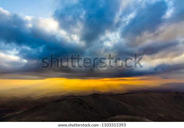 """Sunset from """"La Silla"""" Observatory in North Chile, a view above the horizon line"""