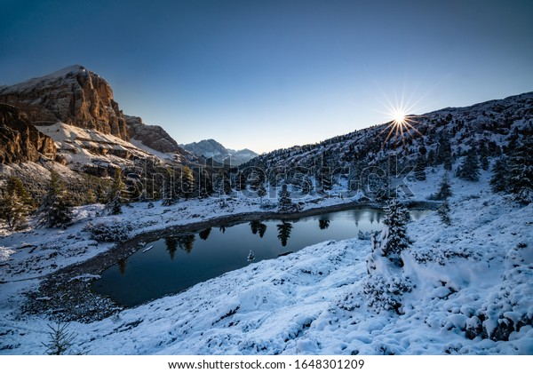 Sunset at Lago di Limides in the Dolomites