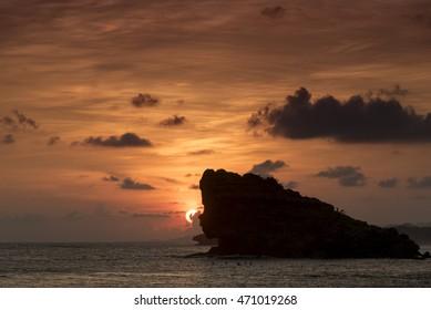 Sunset at the lagoon of Watu Karung, Java, Indonesia