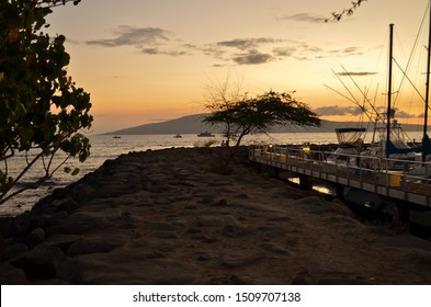sunset at the Lahaina Harbor maui hawaii