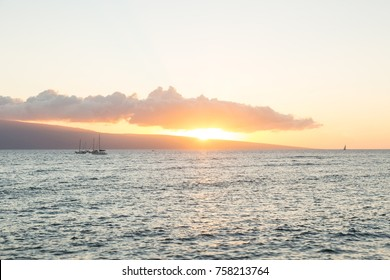 Sunset at Lahaina opposite of island Lanai, Hawaii, USA