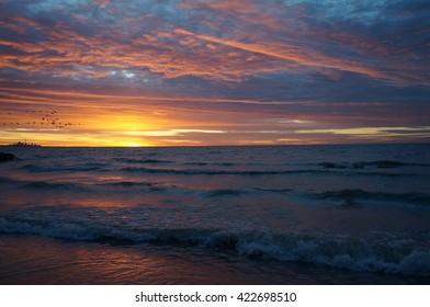 sunset lake - Shutterstock ID 422698510