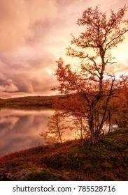 Sunset lake in Abisko national park in Sweden