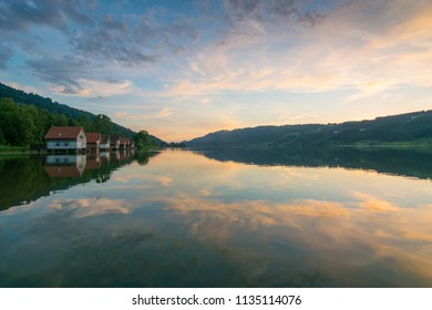 Sunset at lake Alpsee in Immenstadt, Alps of Bavaria