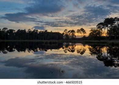Sunset at lake Ansumven in national park the Kampina, Netherlands.