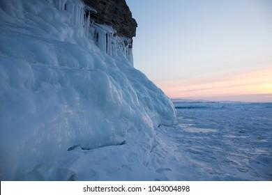 Sunset of Lake Baikal in winter
