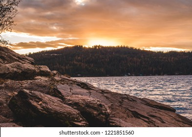 Sunset at Lake Coeur d'Alene in fall time