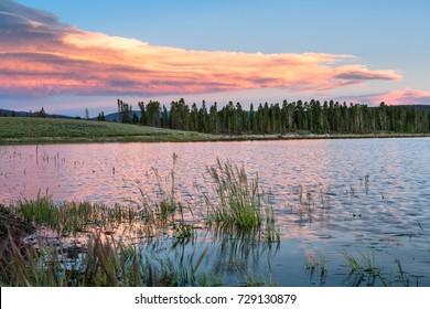 Sunset at Lake Granby, Colorado, near Rocky Mountain National Park, CO, USA