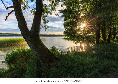 Sunset  at lake Jezioro Nidzkie, Masuria, Poland