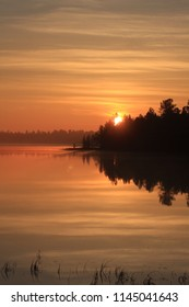 Sunset at the lake in Lapland