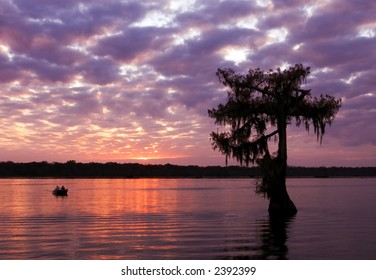 Sunset at Lake Martin near Breaux Bridge, Louisiana.