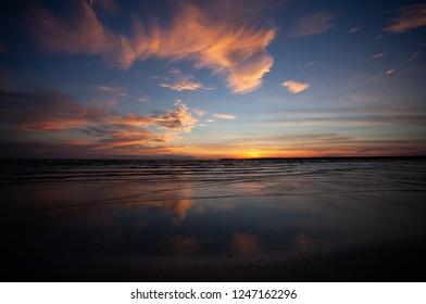 sunset of lake ontario from beach