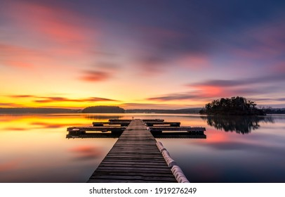 Sunset lake pier landscape view - Shutterstock ID 1919276249