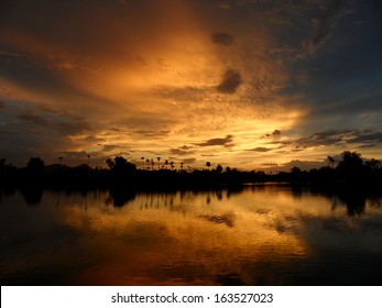 Sunset with lake reflection