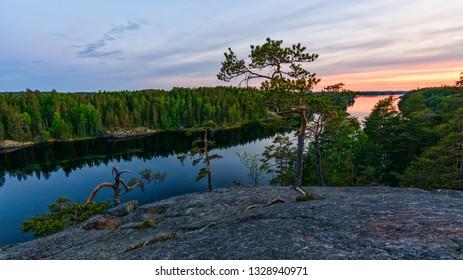 Sunset from lake Saimaa, Finland.