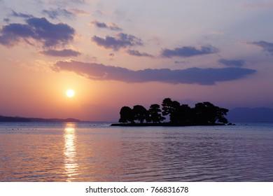 Sunset of Lake Shinji in Matsu, Shimane, Japan