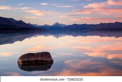 sunset lake tekapo new zealand