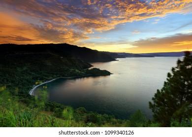 Sunset lake toba Caldera of kings