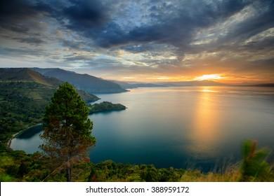 Sunset Lake Toba  location  North Sumatra Indonesia