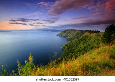 sunset Lake toba locations North Sumatra,indonesia