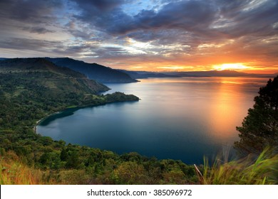 sunset Lake Toba  north Sumatra Indonesia