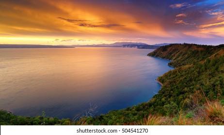 sunset Lake Toba north Sumatra Indonesia