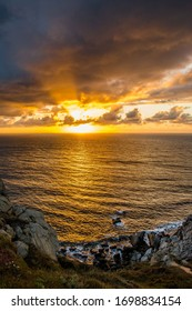 A sunset landscape in the Atlantic coast of Spain, in Galicia. Costa da Morte. A place to go on holidays.