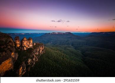 Sunset landscape at blue mountain, Australia.